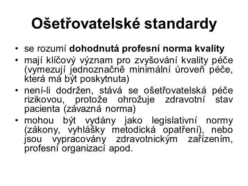 Ošetřovatelské standardy se rozumí dohodnutá profesní norma kvality mají klíčový význam pro zvyšování kvality péče (vymezují jednoznačně minimální úroveň péče, která má být poskytnuta) není-li dodržen, stává se ošetřovatelská péče rizikovou, protože ohrožuje zdravotní stav pacienta (závazná norma) mohou být vydány jako legislativní normy (zákony, vyhlášky metodická opatření), nebo jsou vypracovány zdravotnickým zařízením, profesní organizací apod.