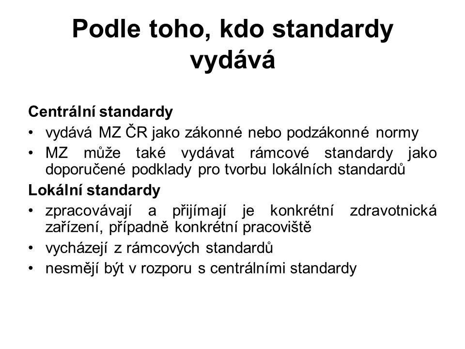 Podle toho, kdo standardy vydává Centrální standardy vydává MZ ČR jako zákonné nebo podzákonné normy MZ může také vydávat rámcové standardy jako doporučené podklady pro tvorbu lokálních standardů Lokální standardy zpracovávají a přijímají je konkrétní zdravotnická zařízení, případně konkrétní pracoviště vycházejí z rámcových standardů nesmějí být v rozporu s centrálními standardy