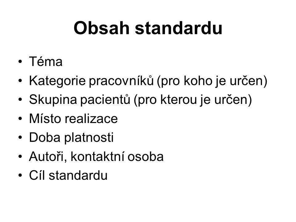 Obsah standardu Téma Kategorie pracovníků (pro koho je určen) Skupina pacientů (pro kterou je určen) Místo realizace Doba platnosti Autoři, kontaktní osoba Cíl standardu