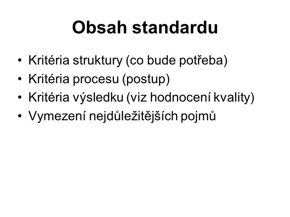 Obsah standardu Kritéria struktury (co bude potřeba) Kritéria procesu (postup) Kritéria výsledku (viz hodnocení kvality) Vymezení nejdůležitějších pojmů