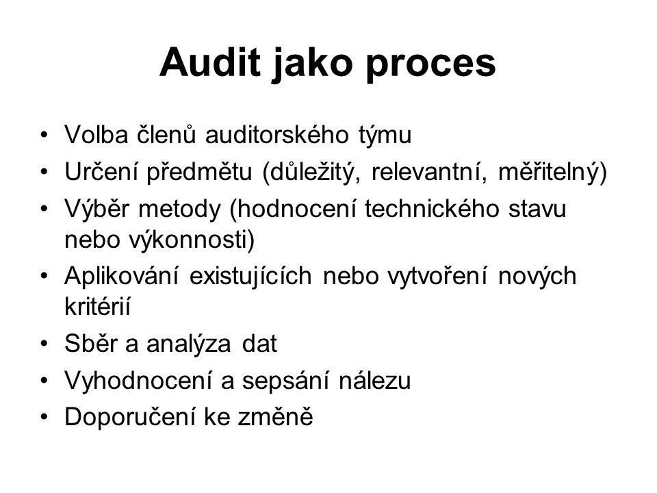 Audit jako proces Volba členů auditorského týmu Určení předmětu (důležitý, relevantní, měřitelný) Výběr metody (hodnocení technického stavu nebo výkonnosti) Aplikování existujících nebo vytvoření nových kritérií Sběr a analýza dat Vyhodnocení a sepsání nálezu Doporučení ke změně
