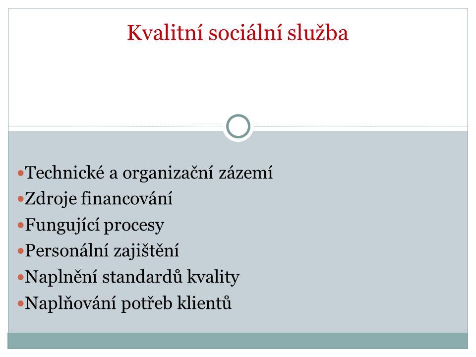 Kvalitní sociální služba Technické a organizační zázemí Zdroje financování Fungující procesy Personální zajištění Naplnění standardů kvality Naplňování potřeb klientů