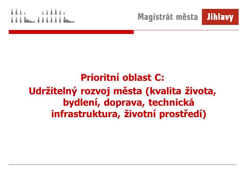 Prioritní oblast C: Udržitelný rozvoj města (kvalita života, bydlení, doprava, technická infrastruktura, životní prostředí)