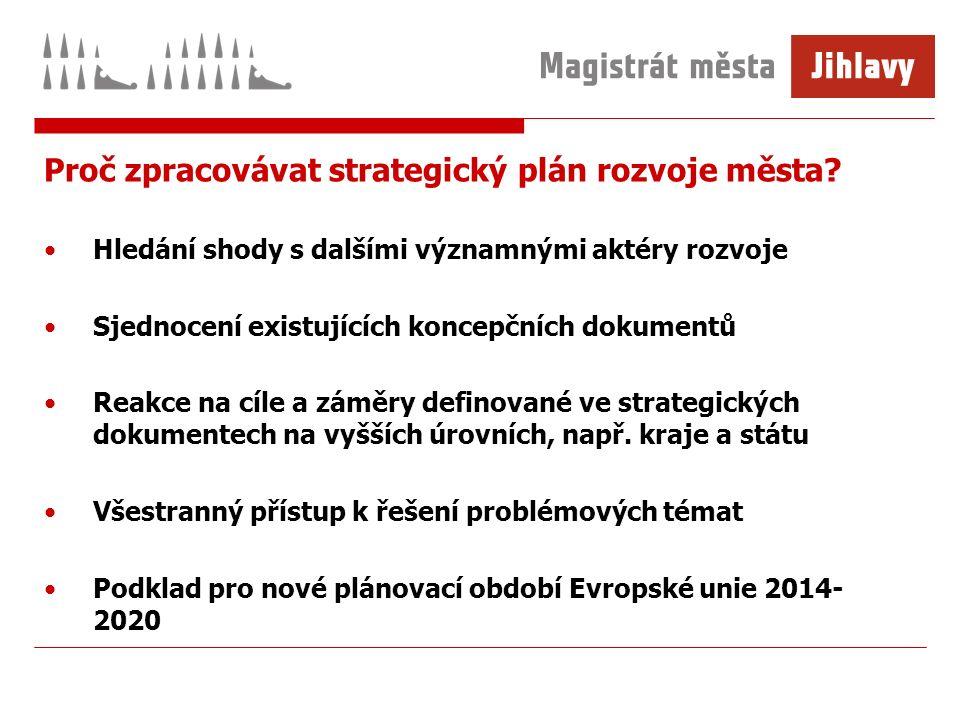 Milníky a tvorba strategie města Jihlavy -Zahájení zpracování v září 2011 -Předpokládaný termín schválení únor 2014 -Zapojení široké veřejnosti, pracovních skupin, Komise rady města pro územní plánování a strategický rozvoj -Odborný konzultant