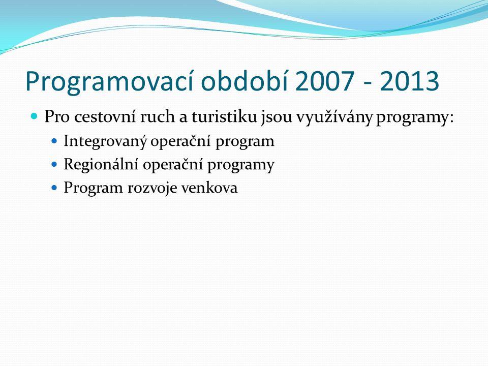Programovací období 2007 - 2013 Pro cestovní ruch a turistiku jsou využívány programy: Integrovaný operační program Regionální operační programy Program rozvoje venkova