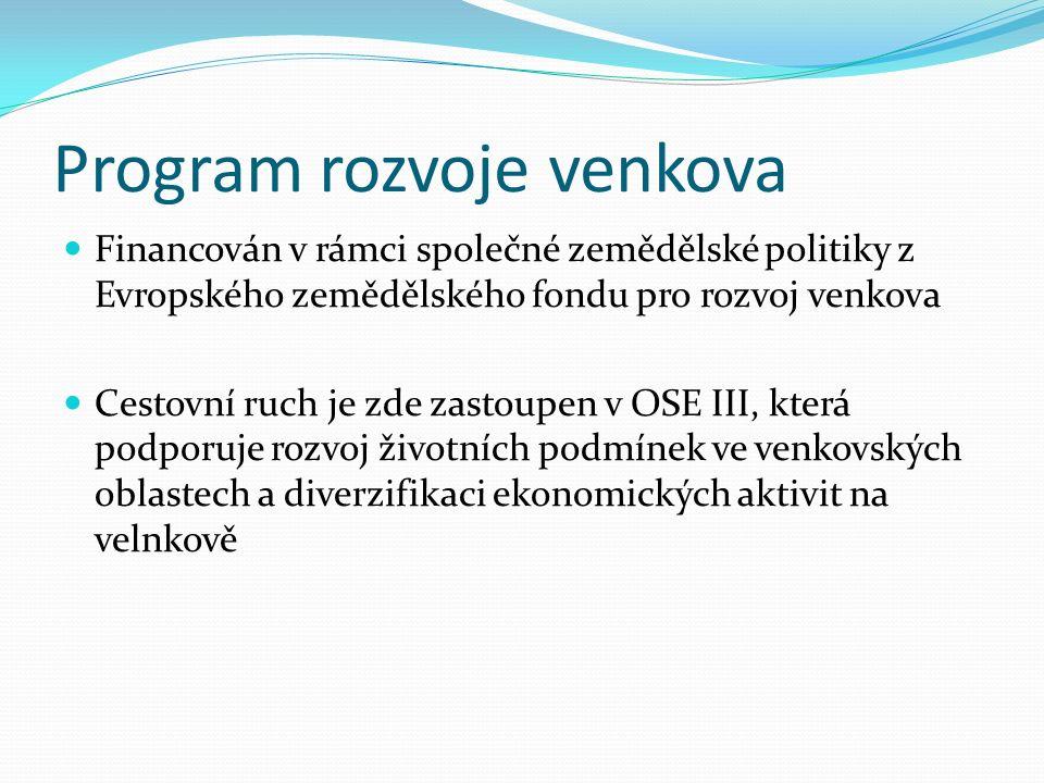 Financován v rámci společné zemědělské politiky z Evropského zemědělského fondu pro rozvoj venkova Cestovní ruch je zde zastoupen v OSE III, která podporuje rozvoj životních podmínek ve venkovských oblastech a diverzifikaci ekonomických aktivit na velnkově