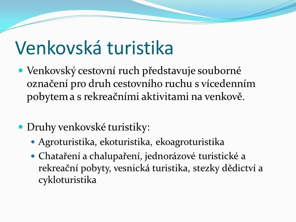 Venkovská turistika Venkovský cestovní ruch představuje souborné označení pro druh cestovního ruchu s vícedenním pobytem a s rekreačními aktivitami na venkově.