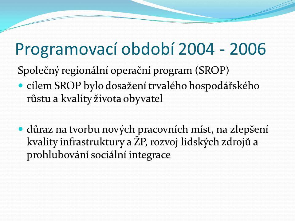 Programovací období 2004 - 2006 Společný regionální operační program (SROP) cílem SROP bylo dosažení trvalého hospodářského růstu a kvality života obyvatel důraz na tvorbu nových pracovních míst, na zlepšení kvality infrastruktury a ŽP, rozvoj lidských zdrojů a prohlubování sociální integrace