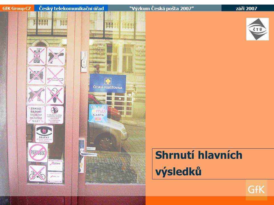 září 2007 Český telekomunikační úřad Výzkum Česká pošta 2007 GfK Group CZ Shrnutí hlavních výsledků