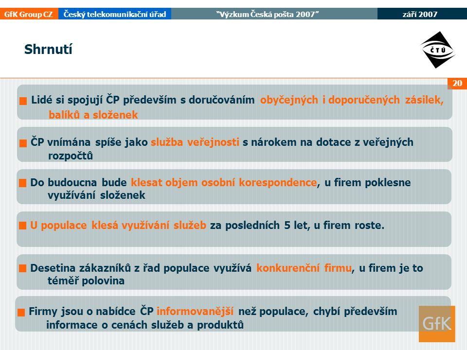 září 2007 GfK Group CZČeský telekomunikační úřad Výzkum Česká pošta 2007 20 Lidé si spojují ČP především s doručováním obyčejných i doporučených zásilek, balíků a složenek ČP vnímána spíše jako služba veřejnosti s nárokem na dotace z veřejných rozpočtů Do budoucna bude klesat objem osobní korespondence, u firem poklesne využívání složenek U populace klesá využívání služeb za posledních 5 let, u firem roste.Desetina zákazníků z řad populace využívá konkurenční firmu, u firem je to téměř polovina Firmy jsou o nabídce ČP informovanější než populace, chybí především informace o cenách služeb a produktů Shrnutí