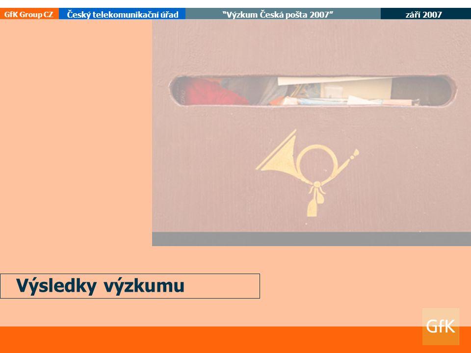 září 2007 Český telekomunikační úřad Výzkum Česká pošta 2007 GfK Group CZ Výsledky výzkumu
