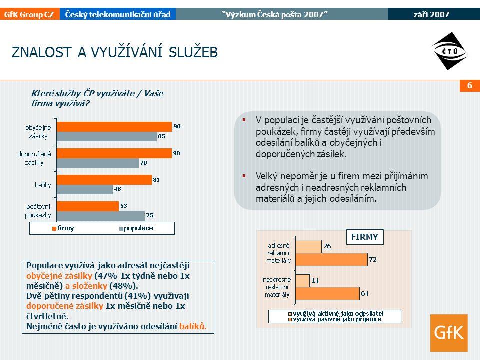 září 2007 GfK Group CZČeský telekomunikační úřad Výzkum Česká pošta 2007 6 ZNALOST A VYUŽÍVÁNÍ SLUŽEB  V populaci je častější využívání poštovních poukázek, firmy častěji využívají především odesílání balíků a obyčejných i doporučených zásilek.