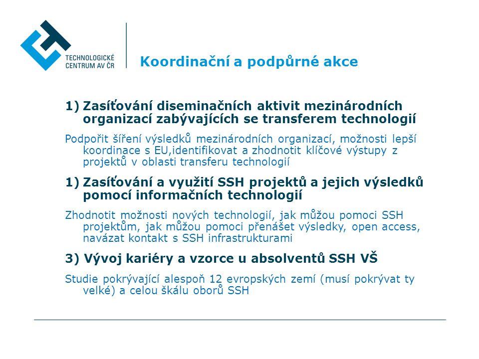 Koordinační a podpůrné akce 1)Zasíťování diseminačních aktivit mezinárodních organizací zabývajících se transferem technologií Podpořit šíření výsledků mezinárodních organizací, možnosti lepší koordinace s EU,identifikovat a zhodnotit klíčové výstupy z projektů v oblasti transferu technologií 1)Zasíťování a využití SSH projektů a jejich výsledků pomocí informačních technologií Zhodnotit možnosti nových technologií, jak můžou pomoci SSH projektům, jak můžou pomoci přenášet výsledky, open access, navázat kontakt s SSH infrastrukturami 3) Vývoj kariéry a vzorce u absolventů SSH VŠ Studie pokrývající alespoň 12 evropských zemí (musí pokrývat ty velké) a celou škálu oborů SSH