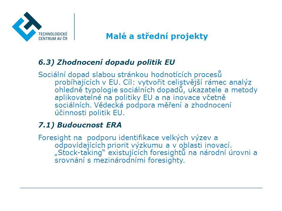 Malé a střední projekty 6.3) Zhodnocení dopadu politik EU Sociální dopad slabou stránkou hodnotících procesů probíhajících v EU. Cíl: vytvořit celistv