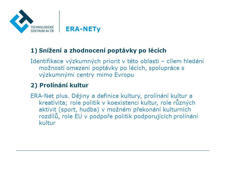 ERA-NETy 1)Snížení a zhodnocení poptávky po lécích Identifikace výzkumných priorit v této oblasti – cílem hledání možností omezení poptávky po lécích, spolupráce s výzkumnými centry mimo Evropu 2) Prolínání kultur ERA-Net plus.