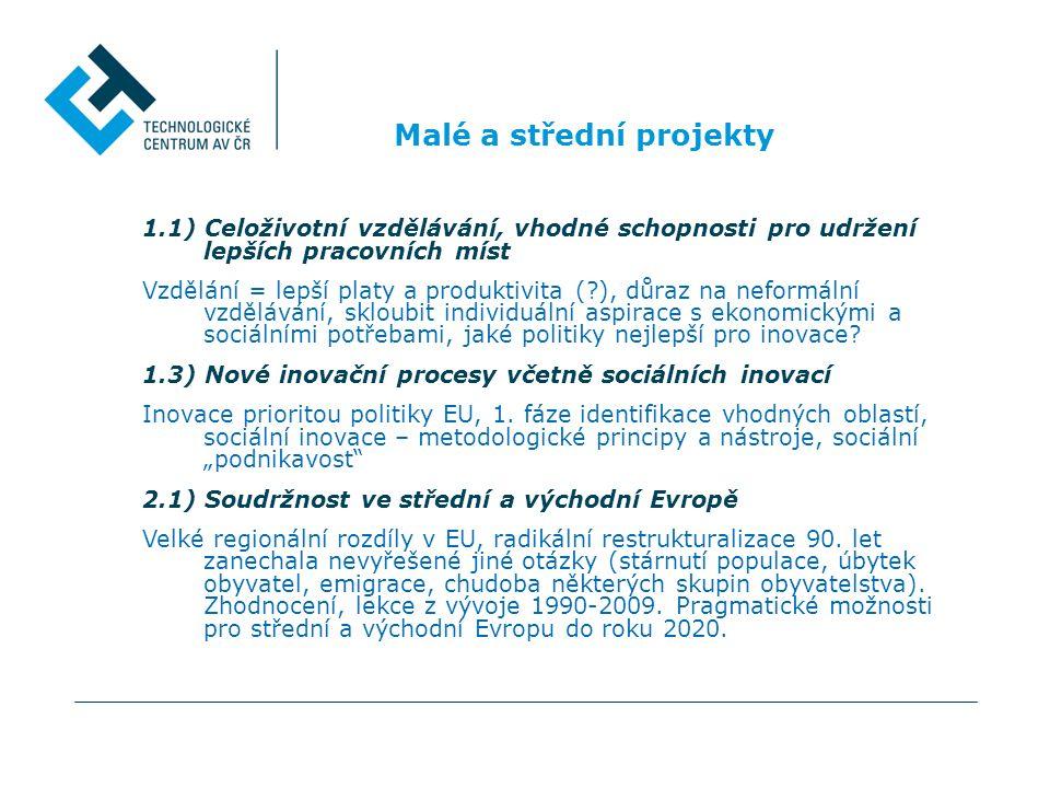 Malé a střední projekty 1.1) Celoživotní vzdělávání, vhodné schopnosti pro udržení lepších pracovních míst Vzdělání = lepší platy a produktivita (?),