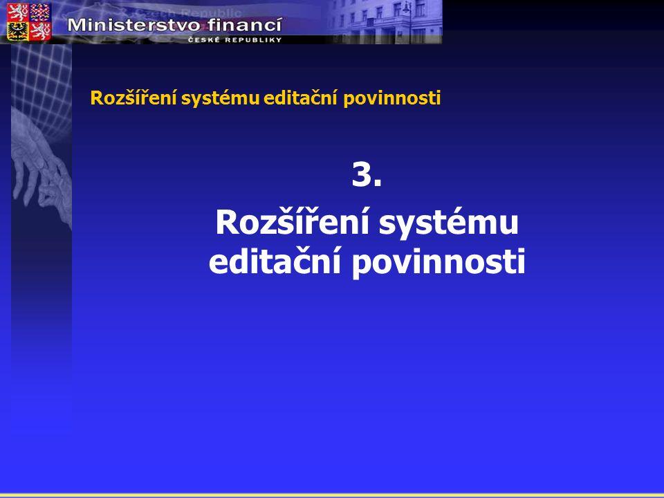 Rozšíření systému editační povinnosti 3. Rozšíření systému editační povinnosti