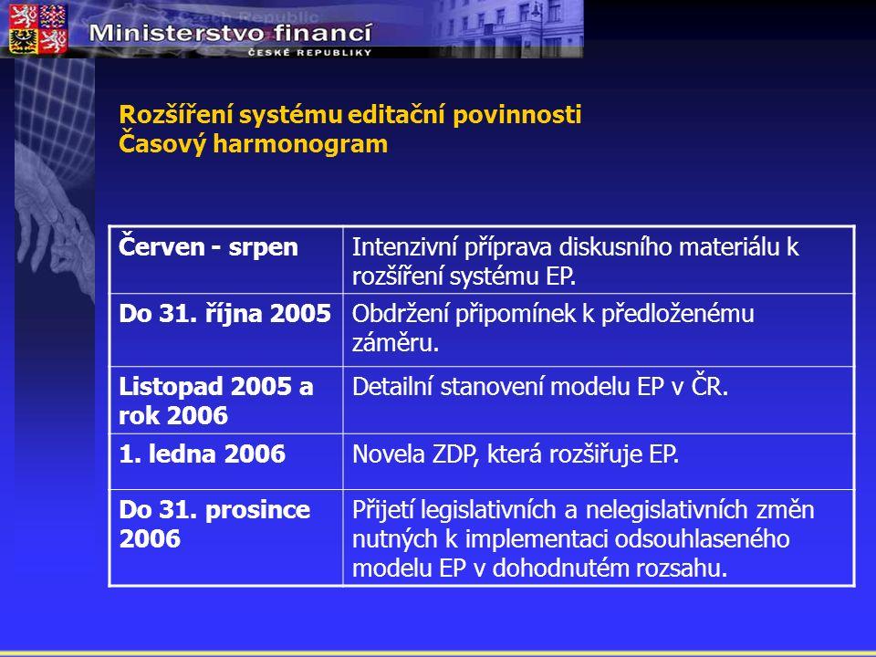 Rozšíření systému editační povinnosti Časový harmonogram Červen - srpenIntenzivní příprava diskusního materiálu k rozšíření systému EP.