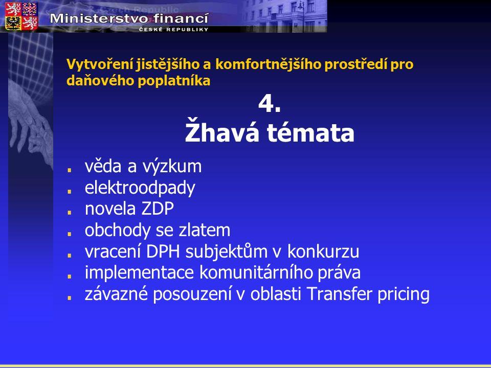 Vytvoření jistějšího a komfortnějšího prostředí pro daňového poplatníka 4.