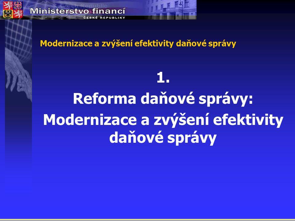 Modernizace a zvýšení efektivity daňové správy 1.
