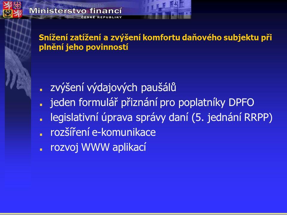 zvýšení výdajových paušálů jeden formulář přiznání pro poplatníky DPFO legislativní úprava správy daní (5.