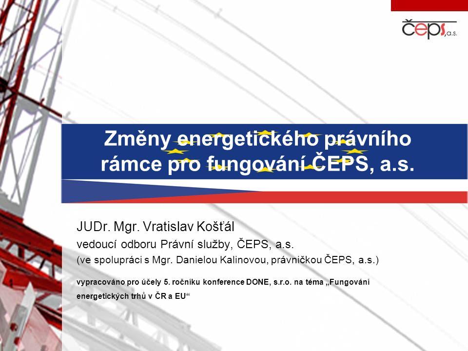 Změny energetického právního rámce pro fungování ČEPS, a.s.