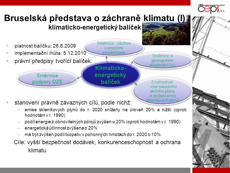 Bruselská představa o záchraně klimatu (I) klimaticko-energetický balíček  platnost balíčku: 26.6.2009  implementační lhůta: 5.12.2010  právní předpisy tvořící balíček:  stanovení právně závazných cílů, podle nichž: –emise skleníkových plynů do r.