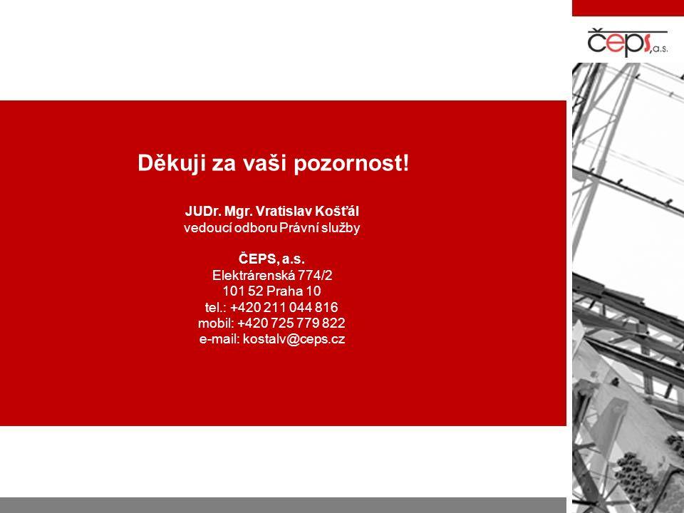 Děkuji za vaši pozornost. JUDr. Mgr. Vratislav Košťál vedoucí odboru Právní služby ČEPS, a.s.