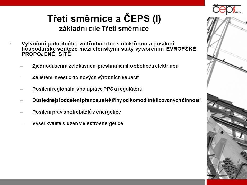 Třetí směrnice a ČEPS (I) základní cíle Třetí směrnice  Vytvoření jednotného vnitřního trhu s elektřinou a posílení hospodářské soutěže mezi členskými státy vytvořením EVROPSKÉ PROPOJENÉ SÍTĚ –Zjednodušení a zefektivnění přeshraničního obchodu elektřinou –Zajištění investic do nových výrobních kapacit –Posílení regionální spolupráce PPS a regulátorů –Důslednější oddělení přenosu elektřiny od komoditně fixovaných činností –Posílení práv spotřebitelů v energetice –Vyšší kvalita služeb v elektroenergetice