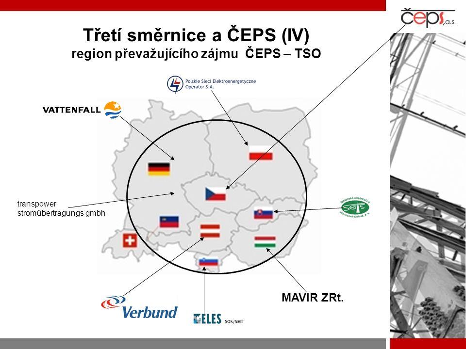 Třetí směrnice a ČEPS (IV) region převažujícího zájmu ČEPS – TSO transpower stromübertragungs gmbh MAVIR ZRt.