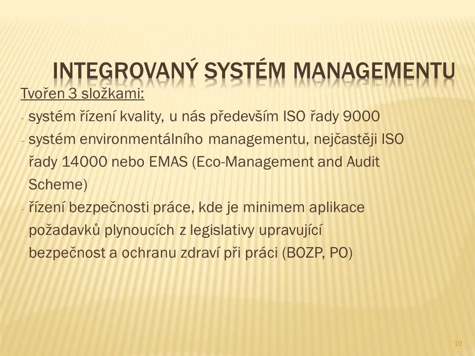 Tvořen 3 složkami: - systém řízení kvality, u nás především ISO řady 9000 - systém environmentálního managementu, nejčastěji ISO řady 14000 nebo EMAS (Eco-Management and Audit Scheme) - řízení bezpečnosti práce, kde je minimem aplikace požadavků plynoucích z legislativy upravující bezpečnost a ochranu zdraví při práci (BOZP, PO) 10