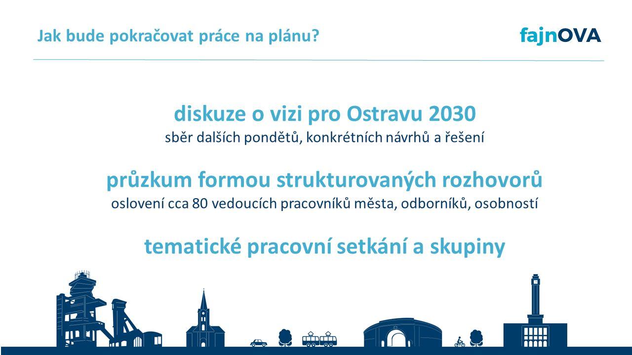 diskuze o vizi pro Ostravu 2030 sběr dalších pondětů, konkrétních návrhů a řešení průzkum formou strukturovaných rozhovorů oslovení cca 80 vedoucích pracovníků města, odborníků, osobností tematické pracovní setkání a skupiny Jak bude pokračovat práce na plánu