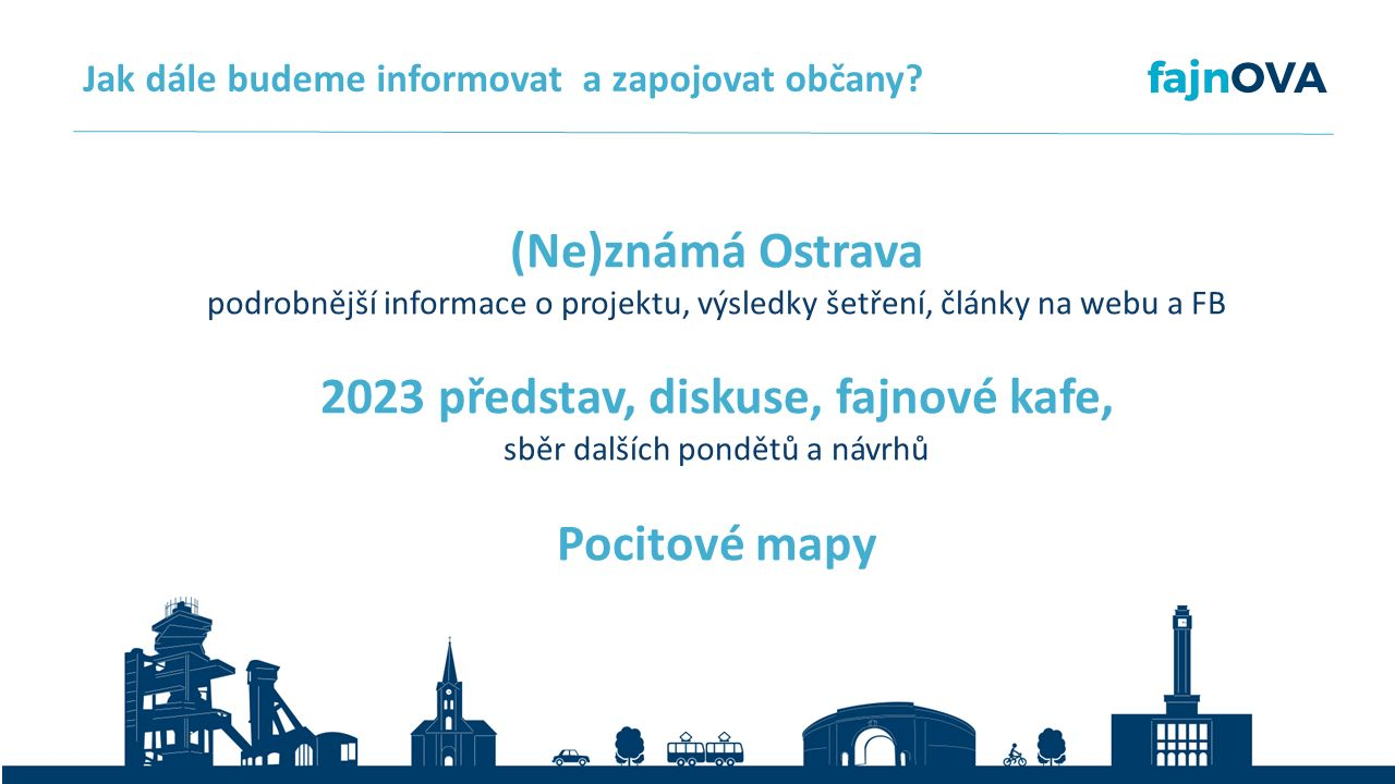 (Ne)známá Ostrava podrobnější informace o projektu, výsledky šetření, články na webu a FB 2023 představ, diskuse, fajnové kafe, sběr dalších pondětů a návrhů Pocitové mapy Jak dále budeme informovat a zapojovat občany