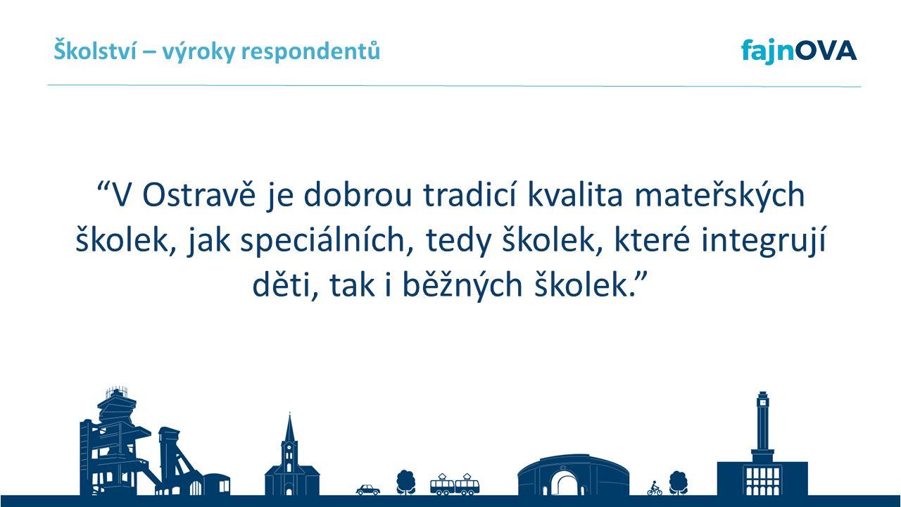 V Ostravě je dobrou tradicí kvalita mateřských školek, jak speciálních, tedy školek, které integrují děti, tak i běžných školek. Školství – výroky respondentů