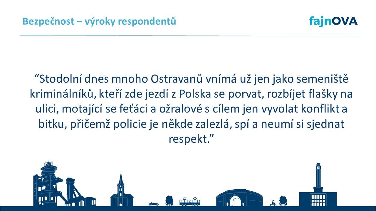 Stodolní dnes mnoho Ostravanů vnímá už jen jako semeniště kriminálníků, kteří zde jezdí z Polska se porvat, rozbíjet flašky na ulici, motající se feťáci a ožralové s cílem jen vyvolat konflikt a bitku, přičemž policie je někde zalezlá, spí a neumí si sjednat respekt. Bezpečnost – výroky respondentů