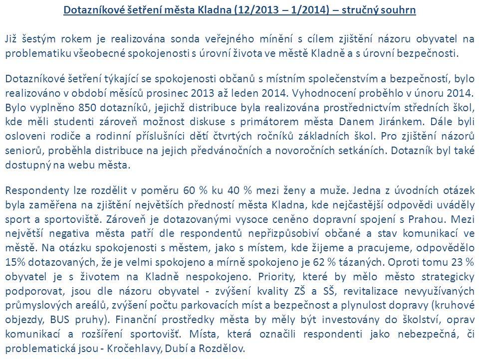 Dotazníkové šetření města Kladna (12/2013 – 1/2014) – stručný souhrn Již šestým rokem je realizována sonda veřejného mínění s cílem zjištění názoru obyvatel na problematiku všeobecné spokojenosti s úrovní života ve městě Kladně a s úrovní bezpečnosti.