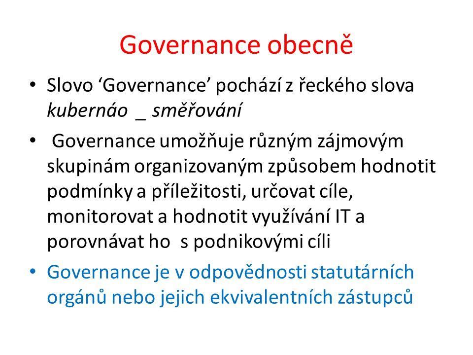 Governance obecně Slovo 'Governance' pochází z řeckého slova kubernáo _ směřování Governance umožňuje různým zájmovým skupinám organizovaným způsobem hodnotit podmínky a příležitosti, určovat cíle, monitorovat a hodnotit využívání IT a porovnávat ho s podnikovými cíli Governance je v odpovědnosti statutárních orgánů nebo jejich ekvivalentních zástupců