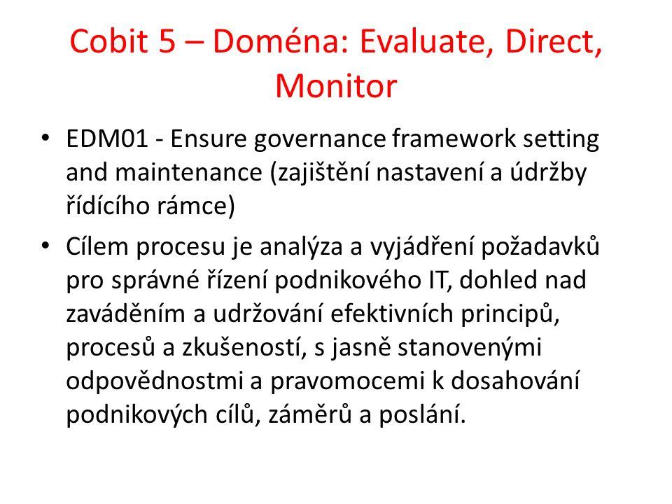 Cobit 5 – Doména: Evaluate, Direct, Monitor EDM01 - Ensure governance framework setting and maintenance (zajištění nastavení a údržby řídícího rámce) Cílem procesu je analýza a vyjádření požadavků pro správné řízení podnikového IT, dohled nad zaváděním a udržování efektivních principů, procesů a zkušeností, s jasně stanovenými odpovědnostmi a pravomocemi k dosahování podnikových cílů, záměrů a poslání.