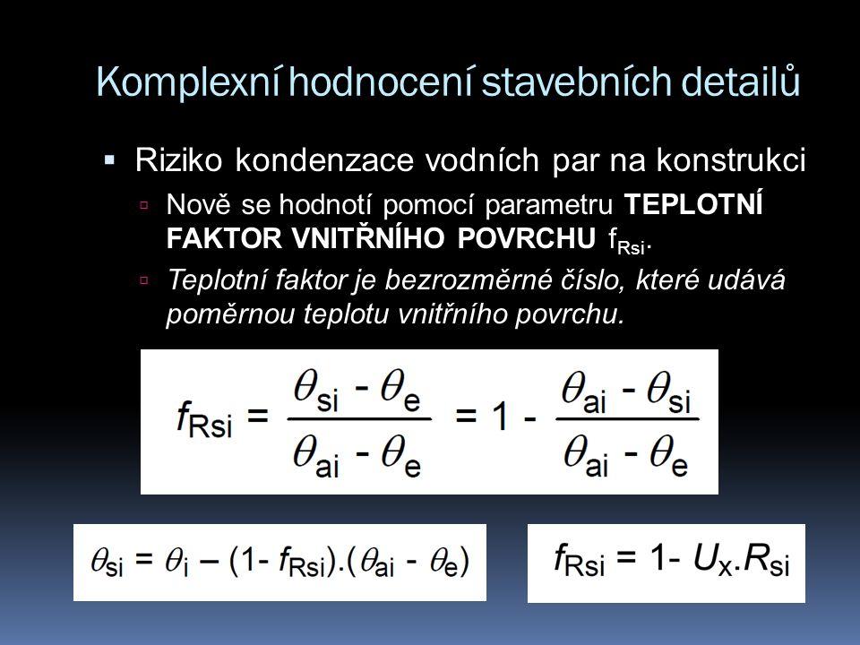 Komplexní hodnocení stavebních detailů  Riziko kondenzace vodních par na konstrukci  Nově se hodnotí pomocí parametru TEPLOTNÍ FAKTOR VNITŘNÍHO POVRCHU f Rsi.