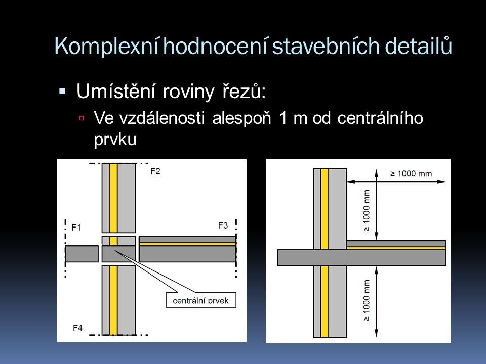 Komplexní hodnocení stavebních detailů  Umístění roviny řezů:  V rovině symetrie, je li vzdálena méně než 1 m