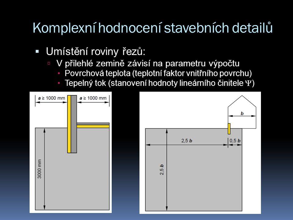 Komplexní hodnocení stavebních detailů  Umístění roviny řezů:  V přilehlé zemině závisí na parametru výpočtu  Povrchová teplota (teplotní faktor vnitřního povrchu)  Tepelný tok (stanovení hodnoty lineárního činitele  )