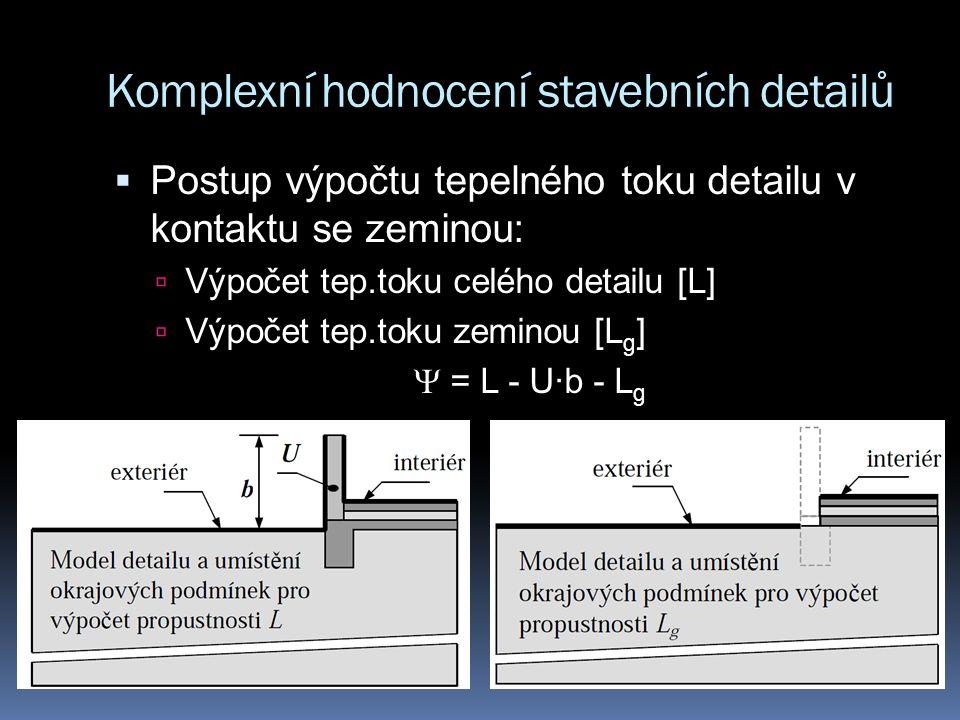 Komplexní hodnocení stavebních detailů  Postup výpočtu tepelného toku detailu v kontaktu se zeminou:  Výpočet tep.toku celého detailu [L]  Výpočet tep.toku zeminou [L g ]  = L - U∙b - L g
