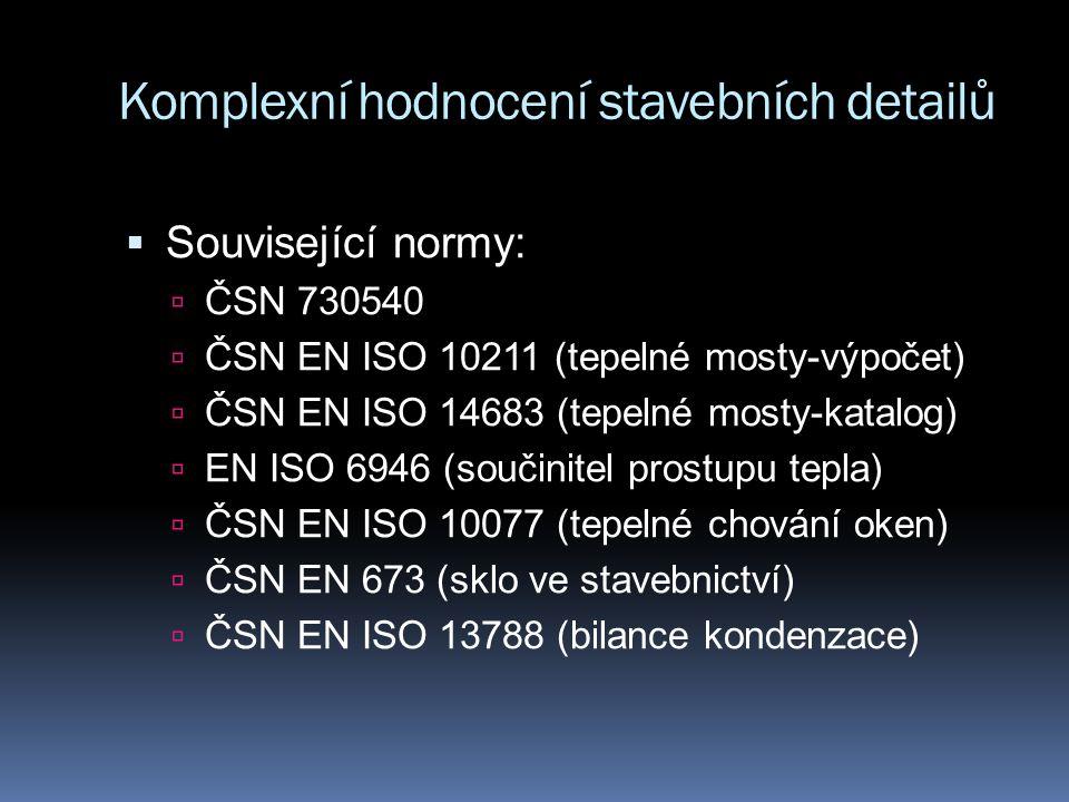 Komplexní hodnocení stavebních detailů  Související normy:  ČSN 730540  ČSN EN ISO 10211 (tepelné mosty-výpočet)  ČSN EN ISO 14683 (tepelné mosty-katalog)  EN ISO 6946 (součinitel prostupu tepla)  ČSN EN ISO 10077 (tepelné chování oken)  ČSN EN 673 (sklo ve stavebnictví)  ČSN EN ISO 13788 (bilance kondenzace)
