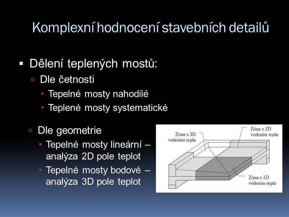 Komplexní hodnocení stavebních detailů  Dělení teplených mostů:  Dle četnosti  Tepelné mosty nahodilé  Teplené mosty systematické  Dle geometrie  Tepelné mosty lineární – analýza 2D pole teplot  Tepelné mosty bodové – analýza 3D pole teplot