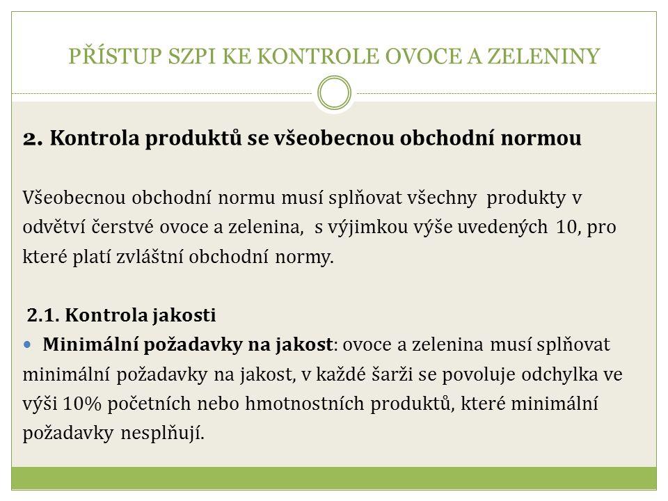 PŘÍSTUP SZPI KE KONTROLE OVOCE A ZELENINY 2.
