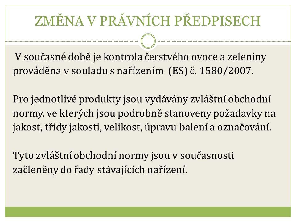 ZMĚNA V PRÁVNÍCH PŘEDPISECH V současné době je kontrola čerstvého ovoce a zeleniny prováděna v souladu s nařízením (ES) č.