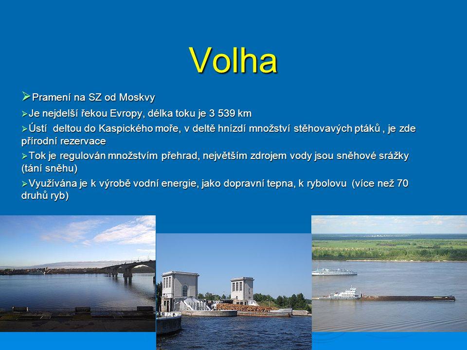 Volha  Pramení na SZ od Moskvy  Je nejdelší řekou Evropy, délka toku je 3 539 km  Ústí deltou do Kaspického moře, v deltě hnízdí množství stěhovavých ptáků, je zde přírodní rezervace  Tok je regulován množstvím přehrad, největším zdrojem vody jsou sněhové srážky (tání sněhu)  Využívána je k výrobě vodní energie, jako dopravní tepna, k rybolovu (více než 70 druhů ryb)