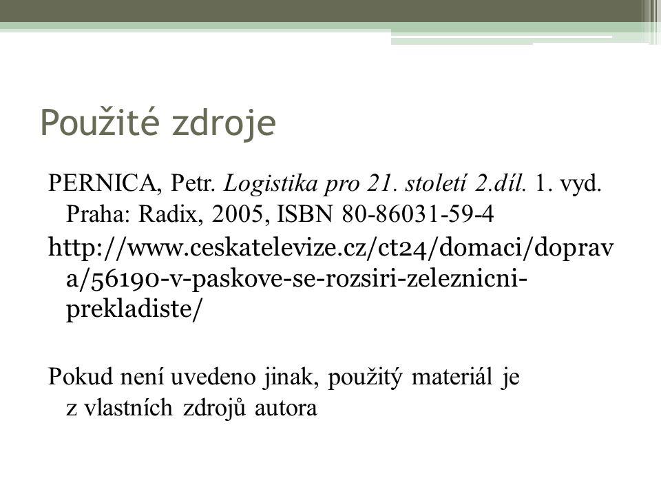 Použité zdroje PERNICA, Petr. Logistika pro 21. století 2.díl.