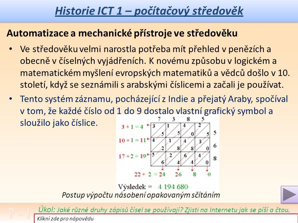 Historie ICT 1 – počítačový pravěk Poznámka: Tento článek je doplňující – vysvětlující, je určen pro chápání vývoje a jeho souvislostí, ne pro učení nazpaměť.