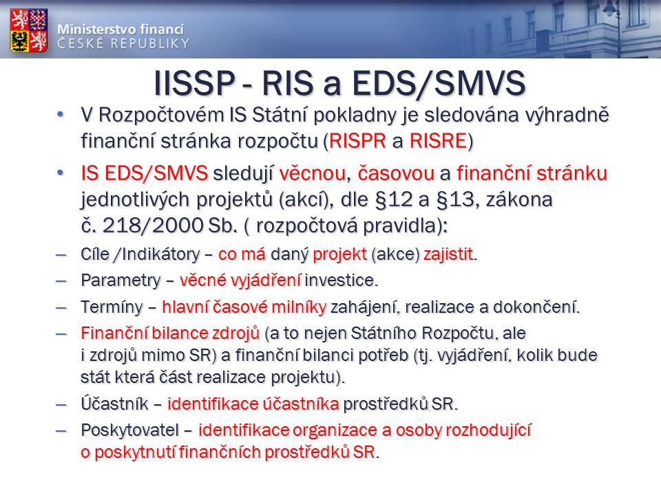 IISSP - RIS a EDS/SMVS V Rozpočtovém IS Státní pokladny je sledována výhradně finanční stránka rozpočtu (RISPR a RISRE) V Rozpočtovém IS Státní pokladny je sledována výhradně finanční stránka rozpočtu (RISPR a RISRE) IS EDS/SMVS sledují věcnou, časovou a finanční stránku jednotlivých projektů (akcí), dle §12 a §13, zákona č.
